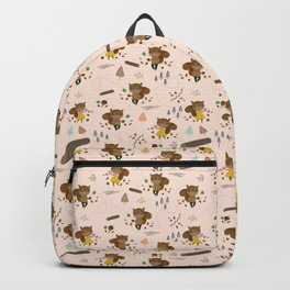 Mr and Mrs Squirrel Apricot Background Backpack