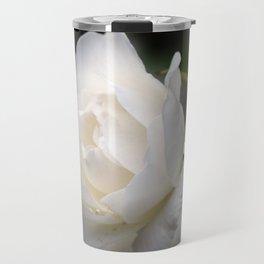 white rose and rosebud on black Travel Mug
