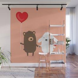 Cute cartoon bear and bunny rabbit holding hands Wall Mural