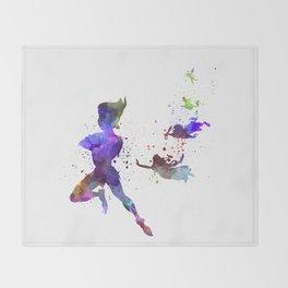 Peter Pan in watercolor Throw Blanket