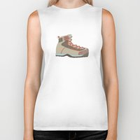 hiking Biker Tanks featuring Hiking Boot 2 by Yellow Chair Design