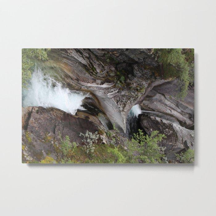 Norwegian waterfall photo, landscape photos, pothole, Instant download, Fine art gifts  Metal Print
