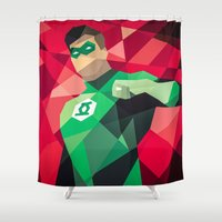 dc comics Shower Curtains featuring DC Comics Green Lantern by Eric Dufresne
