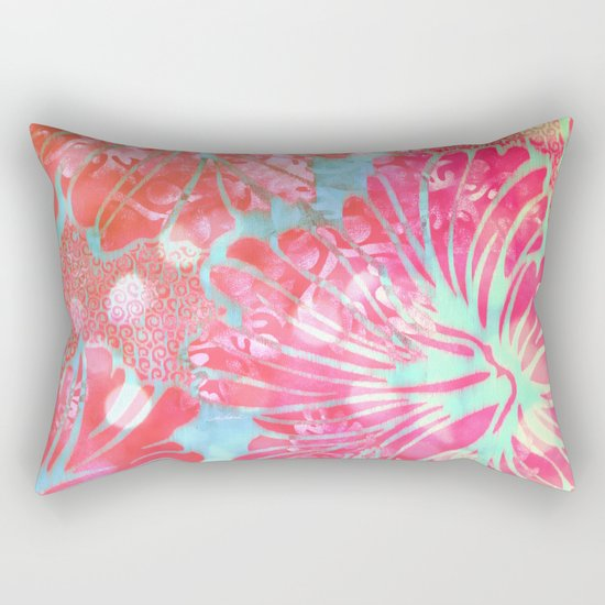 Blue Water Hibiscus Snowfall Rectangular Pillow