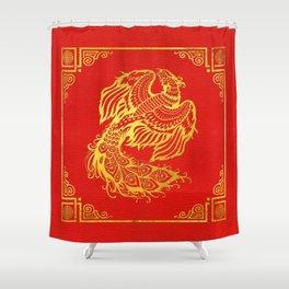 Golden Phoenix  Feng Shui Symbol on Faux Leather Shower Curtain