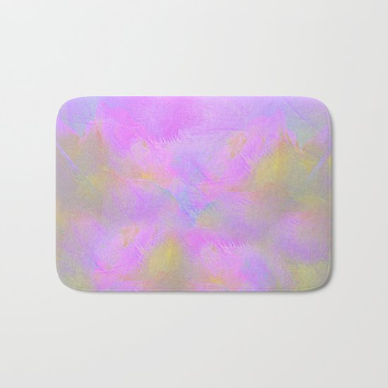 Bright Pastel Feathered Abstract Bath Mat