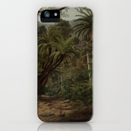 Ferntree and Palms, Tropical Gully landscape portrait by Eugene von Guerard iPhone Case