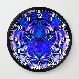 camouflage tiger on blue Wall Clock