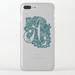 Zentangle A teal Clear iPhone Case
