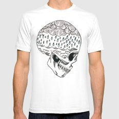 Skull Rain White Mens Fitted Tee SMALL