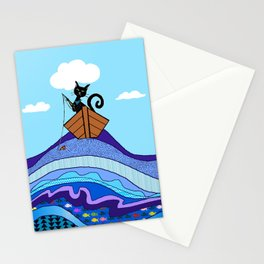 Cat  Fishing Stationery Cards