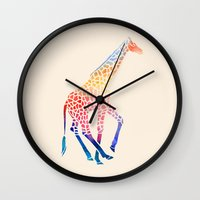 giraffe Wall Clocks featuring Watercolor Giraffe by Jacqueline Maldonado