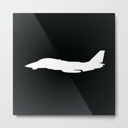 F-14 Tomcat Military Fighter Jet Aircraft Silhouette Metal Print
