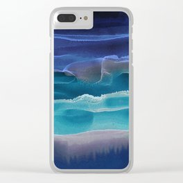 Alcohol Ink Seascape 3 - Sea at Night Clear iPhone Case