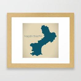 Modern Map - Languedoc Roussillon FR France Framed Art Print