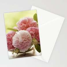 Pink Roses in a silver bowl- Vintage Rose Stilllife Photography Stationery Cards