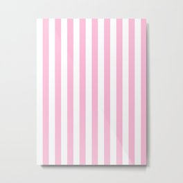 Narrow Vertical Stripes - White and Cotton Candy Pink Metal Print