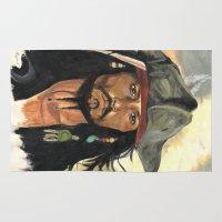 jack sparrow Area & Throw Rugs featuring Captain Jack Sparrow by marysiak