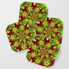 Fantasy Flowers Green And Red, Fractals Art Coaster