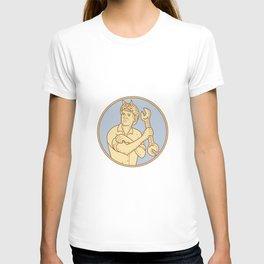 Female Riverter Rolling Sleeve Spanner Mono Line T-shirt