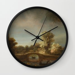 Landscape with a Stone Bridge Wall Clock