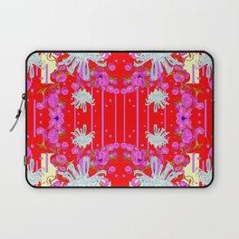 Modern Red Art White Spider Mums Pink Flowers Garden Art Laptop Sleeve
