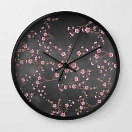 SAKURA LOVE - GRUNGE BLACK Wall Clock