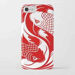 Red and White Yin Yang Koi Fish iPhone Case