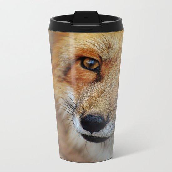 wild fox close up Metal Travel Mug