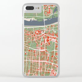 Warsaw city map classic Clear iPhone Case
