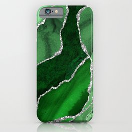 Emerald Green And Silver Marble Waves #society #buyart iPhone Case