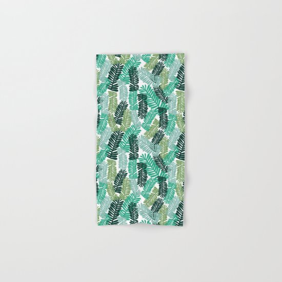 tropical plant house plant palm leaves plant watercolor painting abstract nature pattern leaf summer Hand & Bath Towel