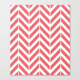 Coral Broken Chevron Canvas Print