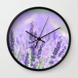 Lavender Blossom Flowers Landscape Wall Clock
