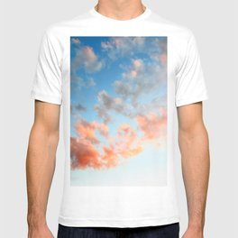 Vibrant orange clouds on gradient blue sky textured background twilight T-shirt
