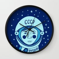valentina Wall Clocks featuring Valentina Tereshkova by Emma Falconer