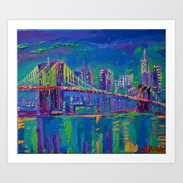 New York City Night Lights - palette knife painting urban Brooklyn bridge skyline Art Print