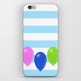 Balloons on striped background iPhone Skin