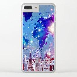 world map city skyline galaxy Clear iPhone Case