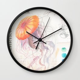 Watercolor Jellyfish Wall Clock