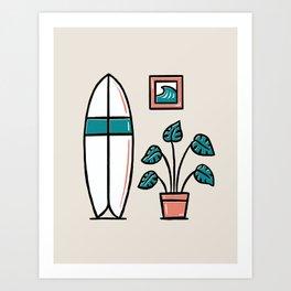 Monstera Surf Art Print