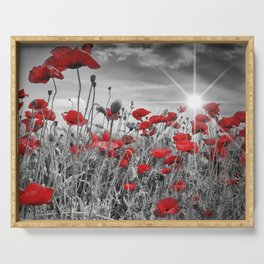 Idyllic Field of Poppies with Sun Serving Tray