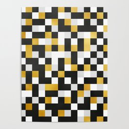 GOLDEN SQUARE TILE PATTERN Poster