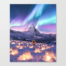 Snow Lanterns Canvas Print