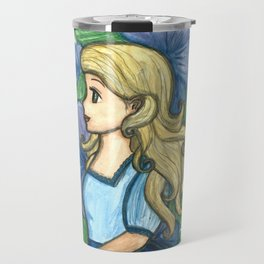 The lady in blue Travel Mug