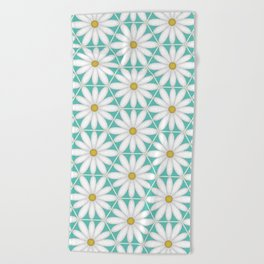 Daisy Hex - Turquoise Beach Towel