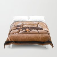 doberman Duvet Covers featuring Ruff Life by Paw Prints By Jamie