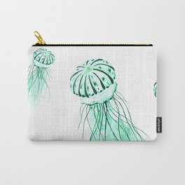 green jellyfish watercolor Carry-All Pouch