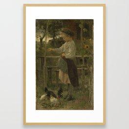 Feeding Chickens, Jacob Maris, 1866 Framed Art Print