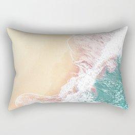 Aerial Ocean Waves   Teal Green Color Rectangular Pillow